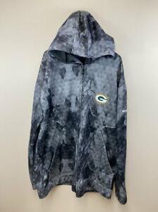 Reebok Onfield 4XL Green Bay Packers Gray Full Front Zip Hoodie Sweatshirt
