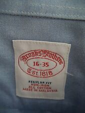 BROOKS BROTHERS Blue Dress Shirt 16 x 35 100% Cotton Non-Iron
