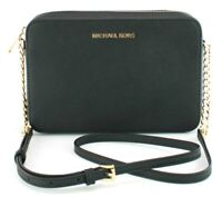 Michael Kors Shoulder Cross Body Bag Black Leather Medium Handbag Jet Set
