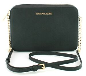 Michael Kors Jet Set Shoulder Cross Body Box Bag Black Leather Medium Handbag