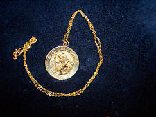 14K ST. CHRISTOPHER PROTECT US PENDANT 16 IN WOMEN'S 14K FLAT LINK CABLE CHAIN