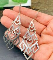 Taxco Mexican Lightweight Earrings 925 Sterling Silver Modern Dangles Design!