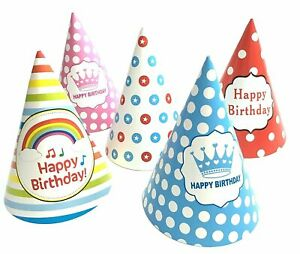 10 Multicoloured Paper Party Hats Patterned Cone Hat Birthday Dress Up Kids Fun