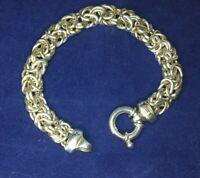 """Milor 925 Byzantine Bracelet Sterling Silver Italy 7.5"""" Chunky"""