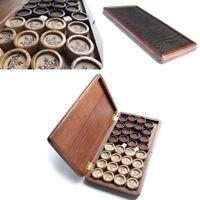 """Handarbeit HOLZ Backgammon Schatulle mit 32 Steine """"KRONE"""" + 2 Würfel 27mm 1,1"""""""
