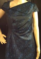 TAHARI ARTHUR S LEVINE Designer Blue Black Dress Size 6P Off Center Neck New Tag