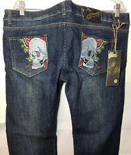 Christian Audigier Ed Hardy Mens Size 38 X 36 Skull Head Blue Denim Jeans NWT