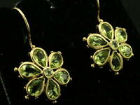 EP038 - Genuine 9ct SOLID Yellow Gold Natural PERIDOT Daisy Blossom Earrings