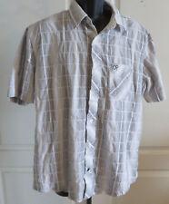 Mens Vtg OP Ocean Pacific Short Sleeve Button Down Shirt White Gray XL