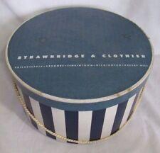 "Vintage STRAWBRIDGE & CLOTHIER HAT BOX, 12"" Round x 6.5"" Tall, Blue/White Stripe"