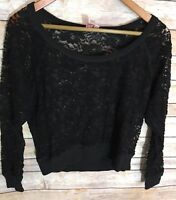 DOLLED UP Womens Black Lace Blouse Size SMALL
