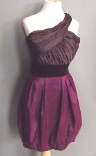 Max and Cleo 2 Purple One Shoulder Dress Pouf Satiny Velvet Cocktail Party Prom