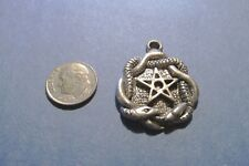 One Hundred  Pewter Pentagram Pentacles Wiccan  With Snakes  Pendants