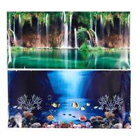 2X(Blue Fresh Sea Background Aquarium Ocean Landscape Poster Fish Tank Back J7E1