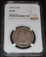 1875-S 50C Silver Seated Liberty Half Dollar Graded by NGC as XF 40