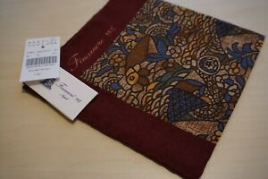 Finamore Napoli Silk Wool Blend Multicolor Stained Glass Look Pocket Square NEW