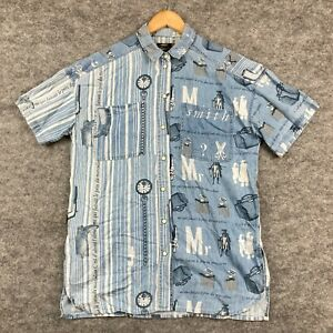 VINTAGE Jag Mens Button Shirt Size Small Blue Snap Short Sleeve Collared 134.12