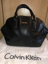 Calvin Klein Leather Black Bowler Handbag W/Attachable Shoulder Strap From NYC