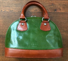 Vera Pelle Small Dome Zip Top Bag Handbag Made in Italy, Green & Chestnut Brown