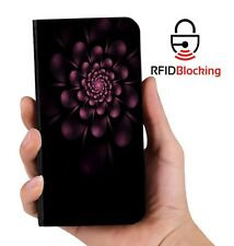 RFID Protected Floral Purple PU Leather Phone Wallet Case Cover Samsung Galaxy
