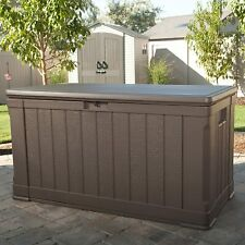 More details for lifetime plastic garden storage box waterproof twin piston lid use as bench