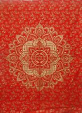 Wall Hanging Small Tapestry Poster Handmade Red Gold Color Flower Ombre Mandala