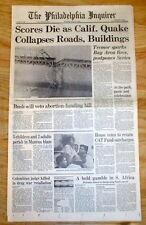1989 newspaper WORLD SERIES EARTHQUAKE San Francisco Oakland CALIFORNIA disaster