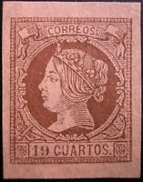 ESPAÑA 1861. Isabel II. 19 cuartos castaño sobre salmón. Nuevo*. Edifil 54.