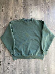 Vintage 1990s Blank Unbranded Green Crewneck Sweatshirt Size Large Hanes V Shape
