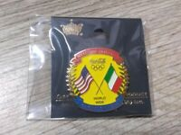Coca Cola USA and Italy Flag Always Welcome Olympic Sponsor Enamel Lapel Pin