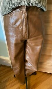 Gorgeous vintage 80's VAKKO Leather Pants in Cognac color, size 6, fully lined.