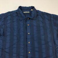 Batik Bay Button Up Shirt Men's 2XL XXL Short Sleeve Blue Striped Rayon Blend