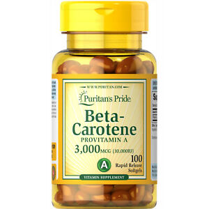 Puritan's Pride Beta-Carotene Provitamin A Softgels, 10,000 IU, 100 Ct.+