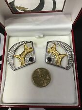 "Rare Vintage ERTE ""Enchanted Melody"" Sterling Silver Earrings Gold"