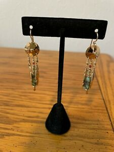 Tabra earrings, gold tone with green beads and feathers