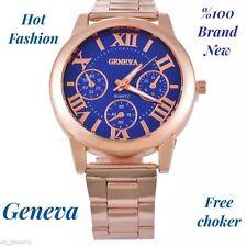 Geneva fashion watch gold unisex + free choker WOMEN MEN JEWELRY WATCHES