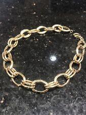 """14K Gold Double Link Charm Bracelet 8"""" 14KT 5.6 Grams Lobster Clasp"""