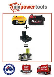 Battery Convertor Adapter to run Ryobi One+ Tools on Milwaukee M18 or Dewalt 18V