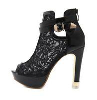 Summer Women's Open Toe Lace Ankle Boots Sandals Block High Heels Shoes Party SZ