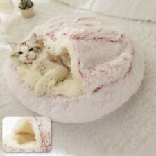 Calming Cave Bed Small Dog / Cat Anti-Anxiety Pink/Cream