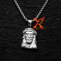 Stainless Steel Micro Small Silver Jesus Head Pendant Necklace Box Chain 3MM 24""