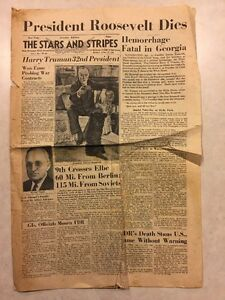 Stars and Stripes April 13 1945 FDR's Death, Harry Truman 32nd President