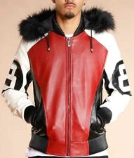 Men's 8 Ball Hooded Leather Jacket - New Arrival - ALL Sizes Available
