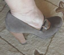 Smokey Grey 4 Inch Heels with Silver Buckles by Allure New Condition  Size 8.5