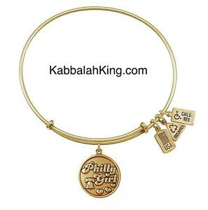 Wind & Fire Philly Girl Charm Gold Expandable Bangle Bracelet Made In USA