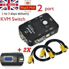 More details for iegeek 2 port usb2.0 vga kvm switch box adapter for pc monitor keyboard+2 cables