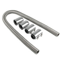 24'' Flexible Stainless Steel Hose Cooling Hose Kit Radiator Engine W Chrome Cap