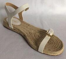 Michael Kors Kyla Leather Espadrille Women's Sandals White Gold Size 10 New $125