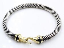 DAVID YURMAN 14k YELLOW GOLD STERLING SILVER SAPPHIRE CABLE BRACELET NR #485B