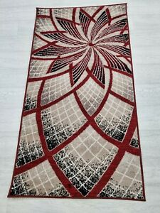 Rug RED BEIGE 80 x 150 cm Soft Touch Living Room Quality TURKISH FLOOR RUGS